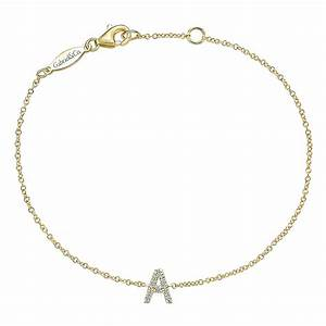 gabriel co jewelry diamond quotaquot 14k yellow gold bracelet With diamond letter bracelet