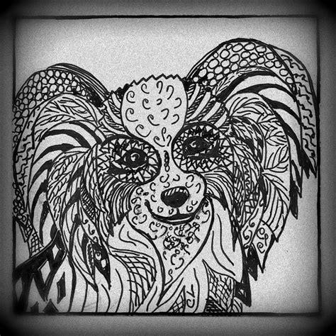 papillon zentagle art dog art dog coloring page