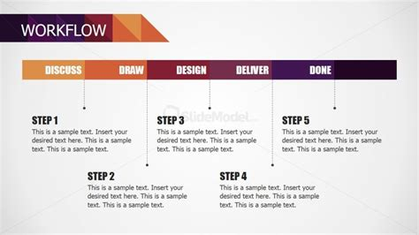 Five Steps Powerpoint Workflow Diagram For Small Business