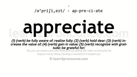 Appreciate Pronunciation And Definition