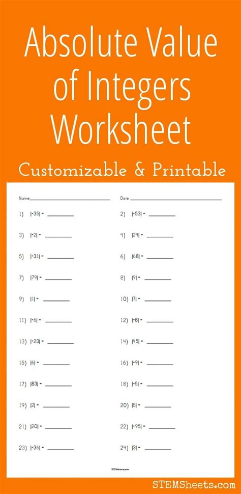 Common Core Worksheets Absolute Value  Worksheet Example