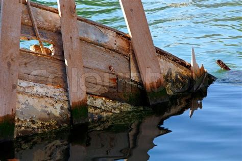 sunken  wooden ship stock photo colourbox
