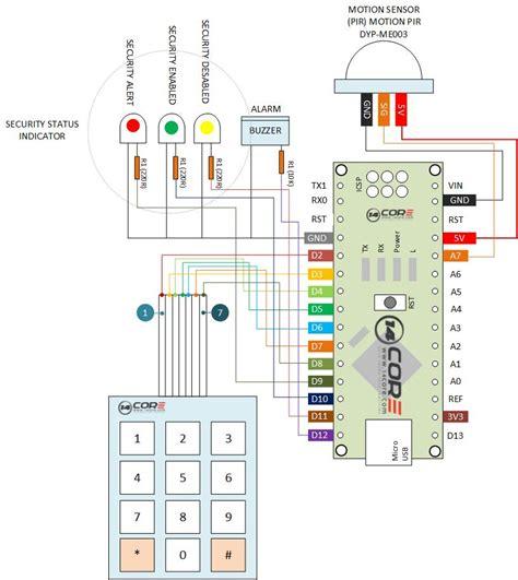 security alarm system pir sensor and keypad with nano 14core