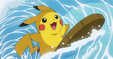 surfin pikachu  coming  pokemon  polygon