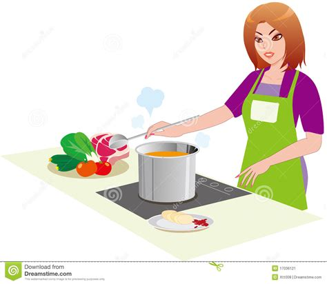la cuisine des femmes le femme dans la cuisine illustration de vecteur