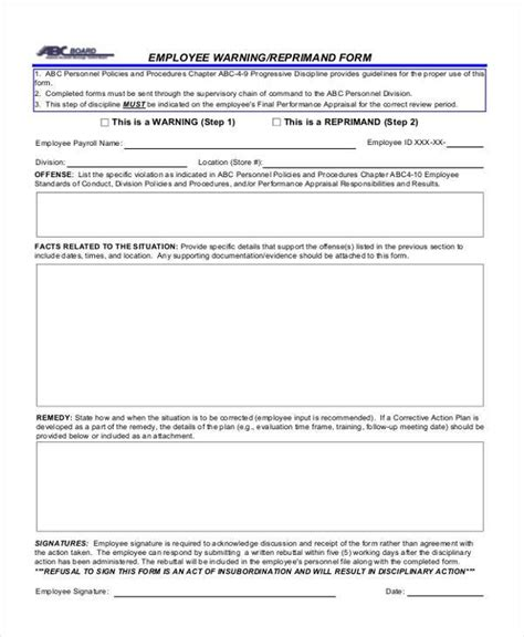 15626 employee warning form sle employee warning forms 9 free documents in word pdf