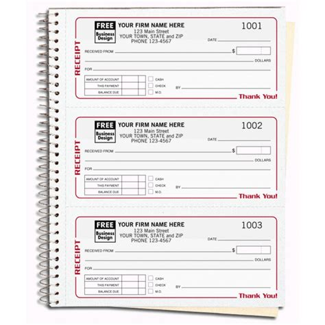 spiral bound custom receipt book printing 696 at print ez