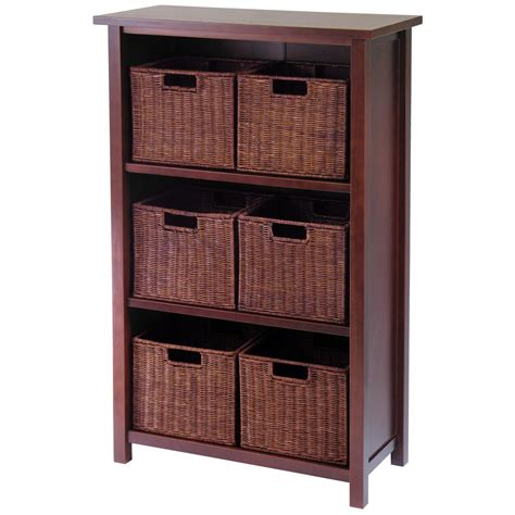storage cabinet with baskets winsome milan 3 tier shelf with rattan baskets 196916