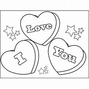 I Love You Candy Hearts Coloring Page