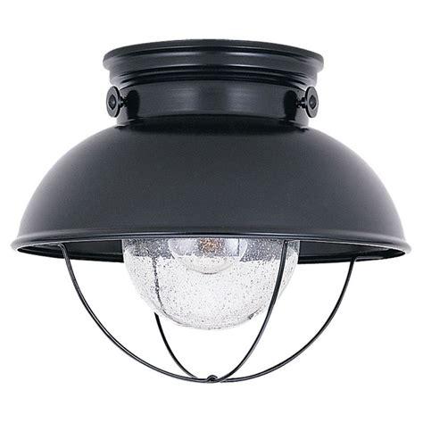 outdoor flush mount ceiling light fixtures sea gull lighting 8869 12 black sebring 1 light outdoor