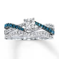 blue sapphire wedding ring sets 1 carat luxurious white and blue sapphire bridal ring set jeenjewels
