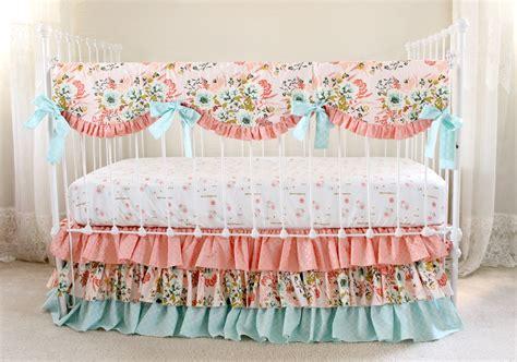bumperless crib bedding blush pink floral lottie da baby design