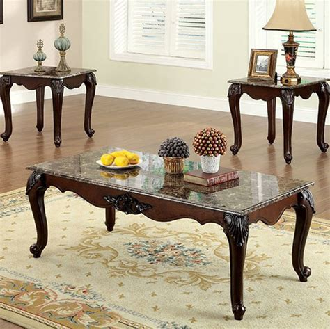 A marble coffee table may be just what your living room. Homeroots Dark Cherry Solid Wood Brown Faux Marble Top 3pc Coffee Table Set | The Classy Home
