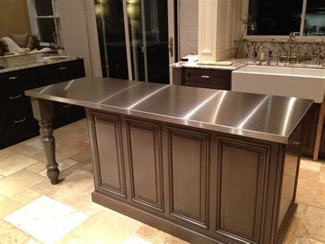kitchen island with stainless steel top stainless steel countertops custom metal home 9455