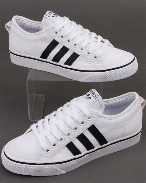 adidas Nizza Trainers in White/Black   80s casual classics