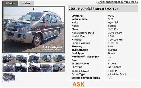 2001 Hyundai Starex 12 Passenger [korean Used Cars ] For