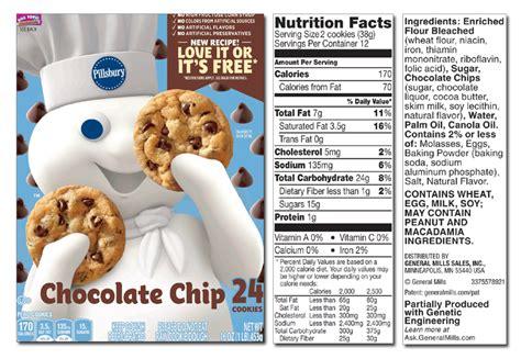Chocolate chunk & chip cookies 24ct pillsbury big deluxe chocolate chip cookies with no items have been added to your cart. Chocolate Chip Cookies Nutrition - NutritionWalls