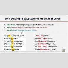 Grammar B1  U10  Simple Past Statementsregular Verbs Youtube