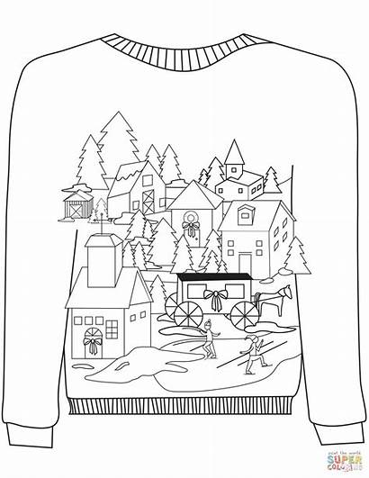 Ugly Sweater Coloring Christmas Pages Village Sweaters
