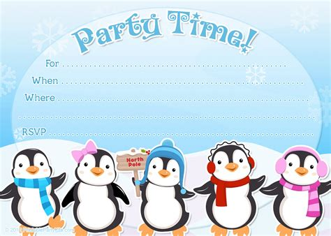 free printable penguin winter or holiday invitation template from printablepartyinvitations
