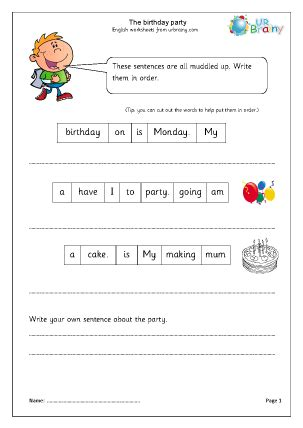 the birthday party year 1 2 english worksheet for key stage 1