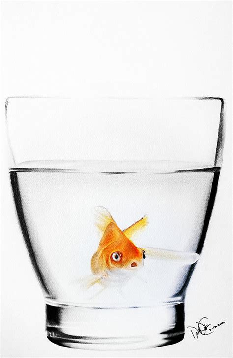 colored mechanical pencil goldfish in glass drawing by desire doecette
