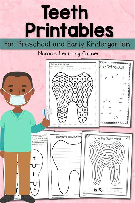 teeth printables  preschool  kindergarten mamas