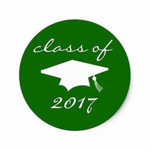 Class Of 2017 Sticker (Green Graduation Cap) | Zazzle