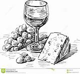 Wine Cheese Glass Clipart Drawing Sketch Vector Grape Winery Drawings Bottle Illustration Dreamstime Wood Broken Queso Pintura Vino Patterns Visitar sketch template