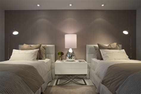 simple contemporary bedroom  pretty lighting