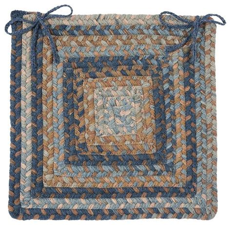 braided gloucester square blue chair pad contemporary