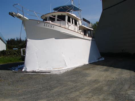 Boat Shrink Wrap Supports shrink wrap tarp with interior wood supports boat is