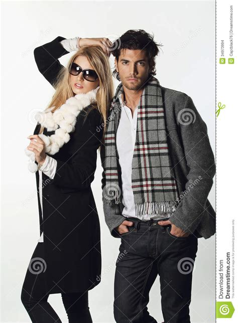 fashion couple stock photo image  cool posing girl