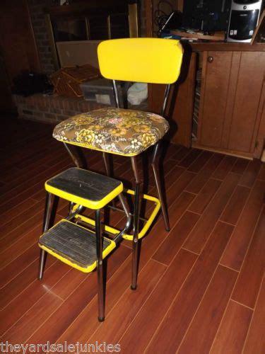 Cosco Metal Folding High Chair by Vtg 1940 Cosco Yellow Chrome Metal Chair Stool High Chair