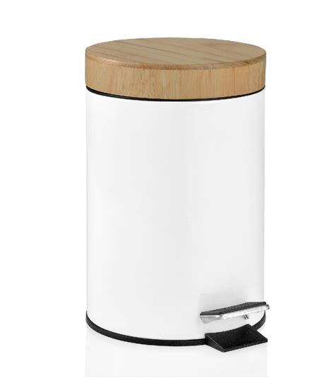 poubelle en bois cuisine poubelle de salle de bain en bois et métal blanc wadiga com