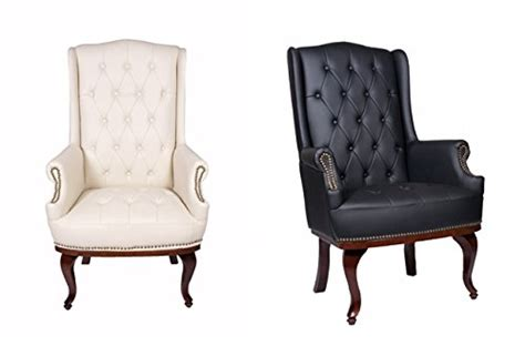 New Queen Anne Fireside High Back Wing Back Cream Leather