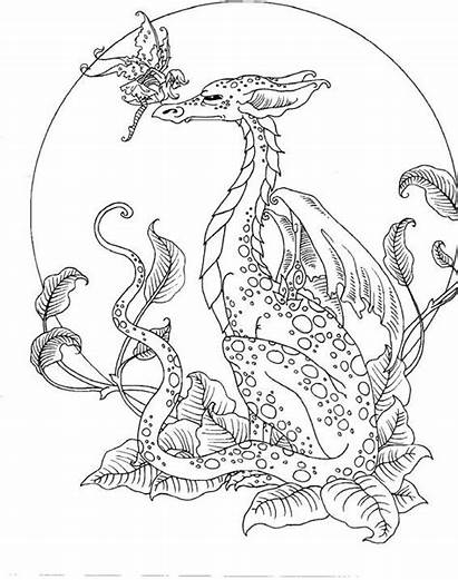 Coloring Pages Fantasy Fairy Dragon Grown Ups