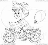 Bike Boy Riding Coloring Outline Clipart Balloon Bicycle Illustration Attached Royalty Rf Bannykh Alex sketch template