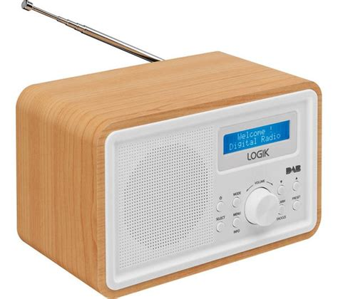 l radio alarm clock buy logik lhdr15 portable dab fm clock radio light wood