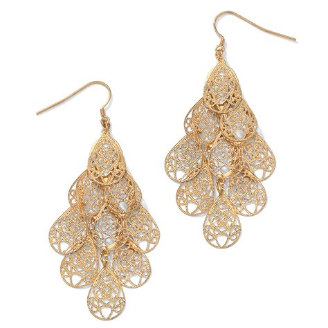 palmbeach jewelry filigree chandelier earrings in yellow