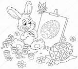 Easter Coloring Bunny Vector Drawing Easel Rabbit Egg Painter Happy Bild Alexbannykh Depositphotos sketch template