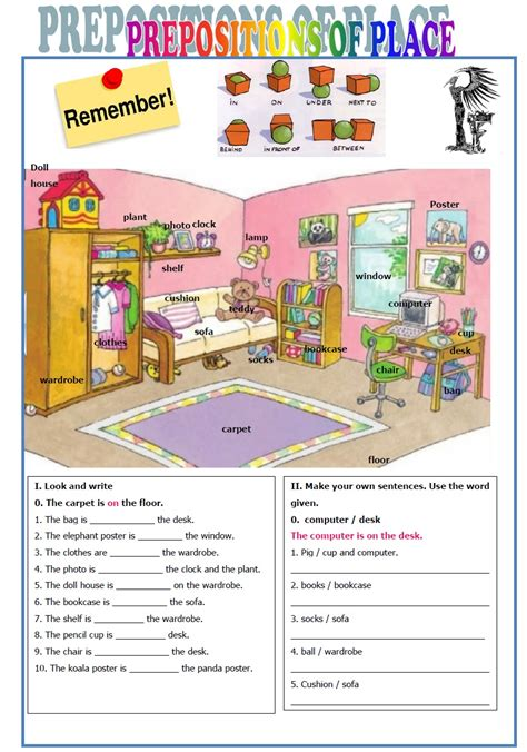 Easy Exercises On Prepositions Of Place  English Teaching Worksheets Prepositions Of