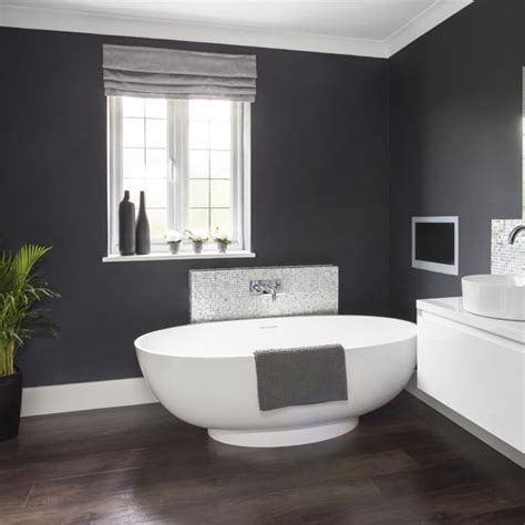 dramatic dark grey bathroom walls glamorous makeover ideas