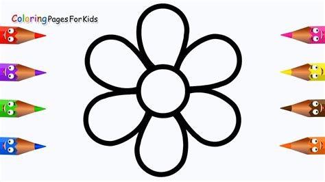 draw flower coloring pages  kidschildren