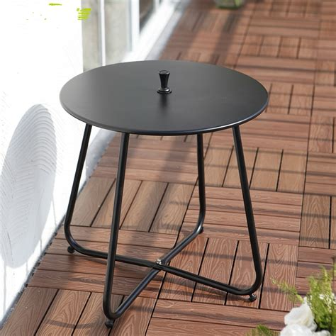 Round woven wicker outdoor coffee table set: Simple Modern Iron Leisure Coffee Table, Small Round Table Corner Outdoor Balcony Tea Table-in ...