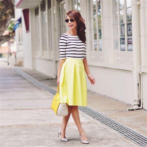 Andrea Chong - Finlay u0026 Co Shades Striped Top Yellow Midi Skirt Yellow Bag Silver Heels ...