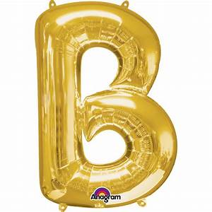 gold letter b mini foil balloon 16quot air free delivery With small letter balloons