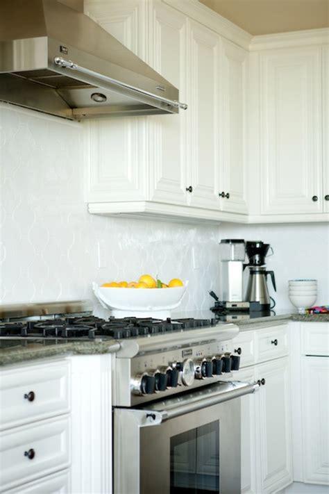 white arabesque tile transitional kitchen belmont