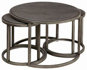 Hammary rotation round cocktail nesting table with metal for Round stacking coffee table