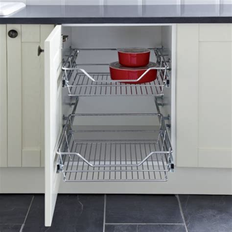pull out baskets for kitchen cabinets pull out wire larder basket set for 300mm kitchen cabinets